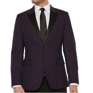 Formal stretch burgundy geo slim fit sport coat